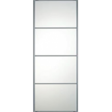 "SILVER FRAME MIRROR SLIDING WARDROBE DOOR 4 PANEL 914mm (36"")"